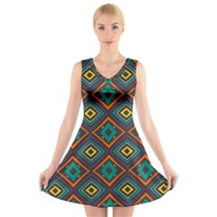 Rhombus pattern      V-Neck Sleeveless Dress