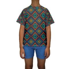 Rhombus Pattern           Kid s Short Sleeve Swimwear