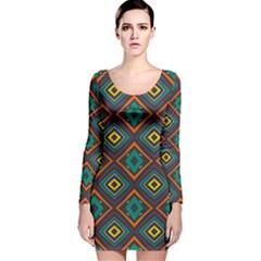 Rhombus Pattern          Long Sleeve Velvet Bodycon Dress