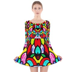 Bi Polar Sun Long Sleeve Velvet Skater Dress