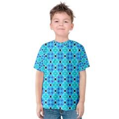 Vibrant Modern Abstract Lattice Aqua Blue Quilt Kid s Cotton Tee