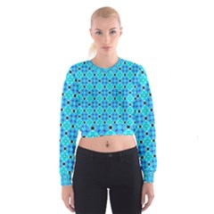Vibrant Modern Abstract Lattice Aqua Blue Quilt Women s Cropped Sweatshirt