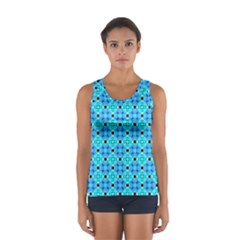 Vibrant Modern Abstract Lattice Aqua Blue Quilt Tops
