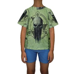 Awesome Green Skull Kid s Short Sleeve Swimwear