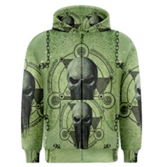 Awesome Green Skull Men s Zipper Hoodie