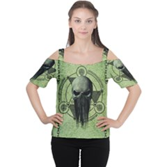 Awesome Green Skull Women s Cutout Shoulder Tee