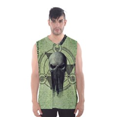 Awesome Green Skull Men s Basketball Tank Top