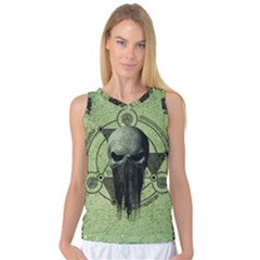 Awesome Green Skull Women s Basketball Tank Top