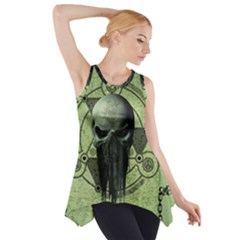 Awesome Green Skull Side Drop Tank Tunic
