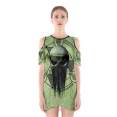 Awesome Green Skull Cutout Shoulder Dress