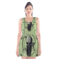 Awesome Green Skull Scoop Neck Skater Dress