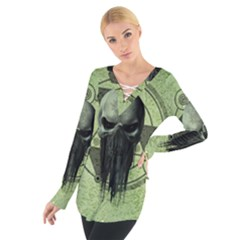 Awesome Green Skull Women s Tie Up Tee