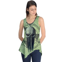 Awesome Green Skull Sleeveless Tunic
