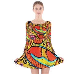 Palace Of Art Long Sleeve Velvet Skater Dress