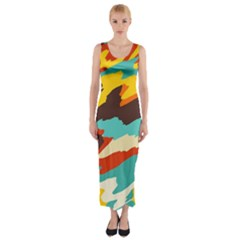 Wavy Retro  Texture           Fitted Maxi Dress