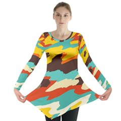 Wavy Retro  Texture           Long Sleeve Tunic