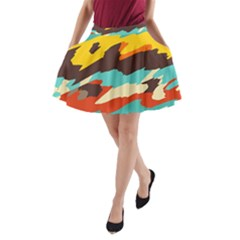 Wavy retro  texture           A-Line Pocket Skirt