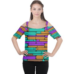 Round corner shapes in retro colors            Women s Cutout Shoulder Tee