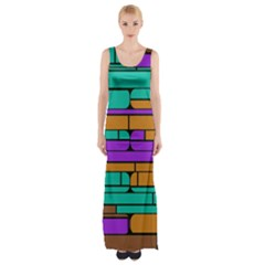 Round corner shapes in retro colors            Maxi Thigh Split Dress