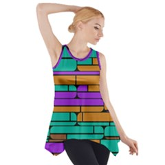 Round corner shapes in retro colors            Side Drop Tank Tunic