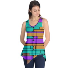 Round corner shapes in retro colors            Sleeveless Tunic