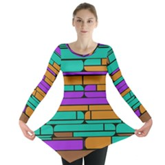 Round corner shapes in retro colors            Long Sleeve Tunic