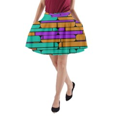 Round Corner Shapes In Retro Colors            A Line Pocket Skirt