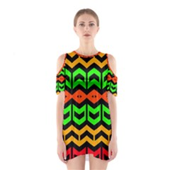 Rhombus and other shapes pattern             Women s Cutout Shoulder Dress