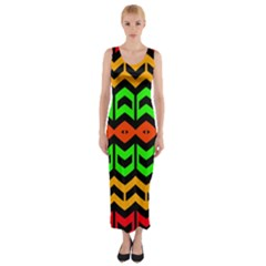 Rhombus and other shapes pattern             Fitted Maxi Dress