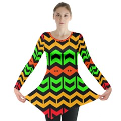 Rhombus and other shapes pattern             Long Sleeve Tunic