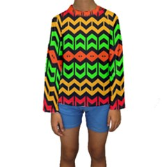 Rhombus and other shapes pattern              Kid s Long Sleeve Swimwear