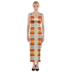 Triangles tribal pattern              Fitted Maxi Dress