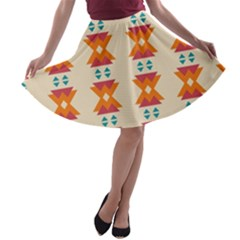 Triangles Tribal Pattern              A Line Skater Skirt