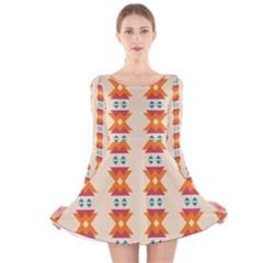 Triangles tribal pattern              Long Sleeve Velvet Skater Dress