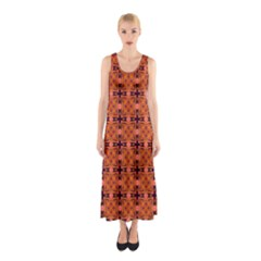 Peach Purple Abstract Moroccan Lattice Quilt Full Print Maxi Dress