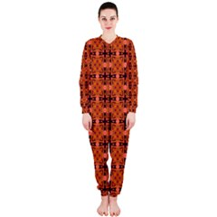 Peach Purple Abstract Moroccan Lattice Quilt Onepiece Jumpsuit (ladies)