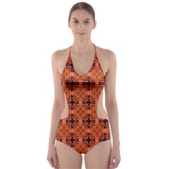 Peach Purple Abstract Moroccan Lattice Quilt Cut-Out One Piece Swimsuit