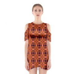 Peach Purple Abstract Moroccan Lattice Quilt Cutout Shoulder Dress