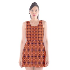 Peach Purple Abstract Moroccan Lattice Quilt Scoop Neck Skater Dress