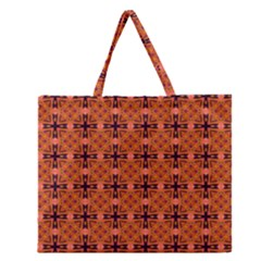 Peach Purple Abstract Moroccan Lattice Quilt Zipper Large Tote Bag
