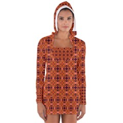 Peach Purple Abstract Moroccan Lattice Quilt Women s Long Sleeve Hooded T Shirt