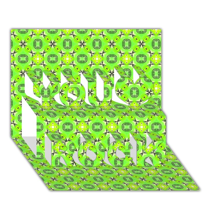 Vibrant Abstract Tropical Lime Foliage Lattice You Rock 3D Greeting Card (7x5)