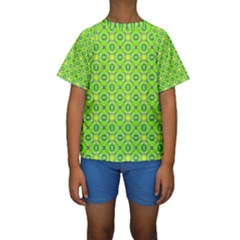 Vibrant Abstract Tropical Lime Foliage Lattice Kid s Short Sleeve Swimwear