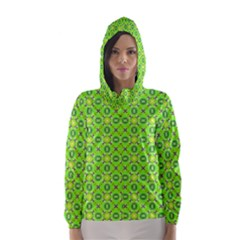 Vibrant Abstract Tropical Lime Foliage Lattice Hooded Wind Breaker (Women)