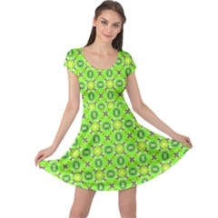 Vibrant Abstract Tropical Lime Foliage Lattice Cap Sleeve Dresses