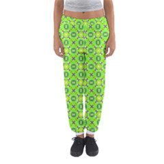 Vibrant Abstract Tropical Lime Foliage Lattice Women s Jogger Sweatpants