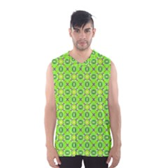 Vibrant Abstract Tropical Lime Foliage Lattice Men s Basketball Tank Top