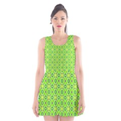 Vibrant Abstract Tropical Lime Foliage Lattice Scoop Neck Skater Dress
