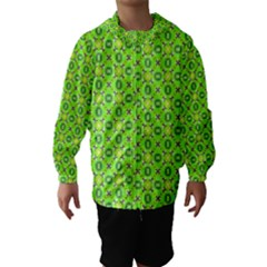 Vibrant Abstract Tropical Lime Foliage Lattice Hooded Wind Breaker (Kids)