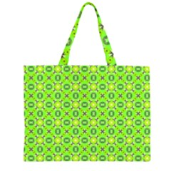 Vibrant Abstract Tropical Lime Foliage Lattice Large Tote Bag